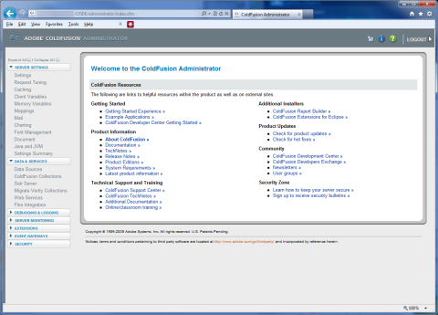 Coldfusion Administrator System Information