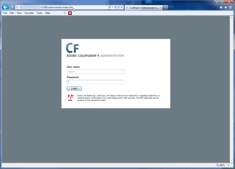 ColdFusion Administrator Page