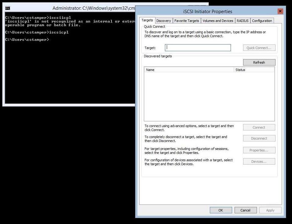 2012 Core Hyperv iSCSI Initiator Properties